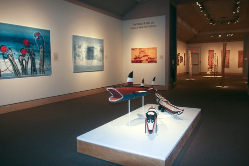 Installation image from Crossing Cultures: The Owen and Wagner Collection of Contemporary Aboriginal Australian Art at the Hood Museum of Art.